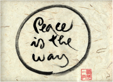 caligraphy peace is the way